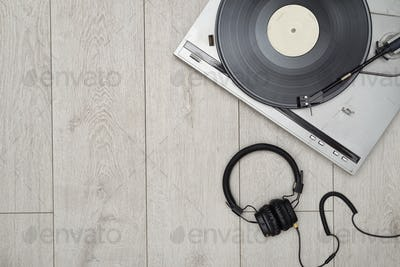 Vinyl player and long play or LP record with copy space.
