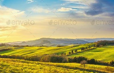 Volterra panorama, rolling hills, green fields and white road. Tuscany, Italy