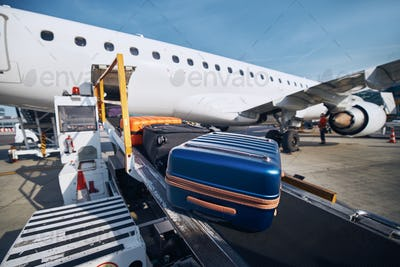 Loading of luggage to airplane