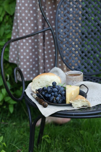 Picnic with Cheese and Grapes