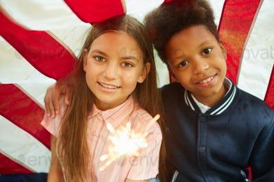 Two Girls Enjoying 4th Of July Celebration