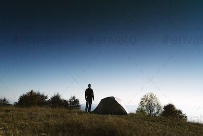 Tourist near his tent