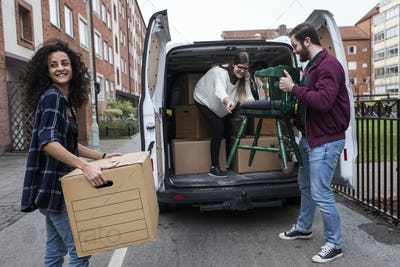 Group of friends moving house