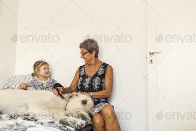 Grandmother sitting in bed with granddaughter (2-3) and Irish Wolfhound