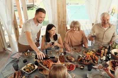 Family celebrating holiday
