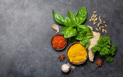 Various spices, herbs and condiments