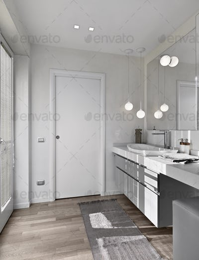 Modern Bathroom Interior with Wooden Floor