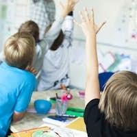 Rear view of children raising hands in classroom
