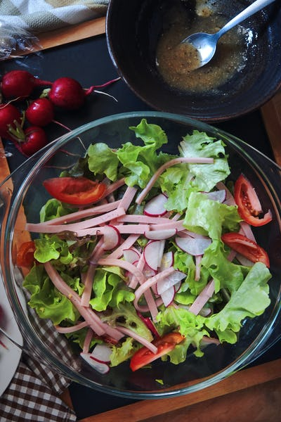 The colorful salad bowl on the table