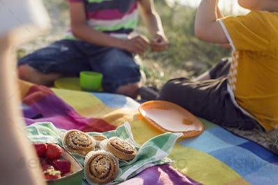 Children (4-5, 10-11) having picnic on beach