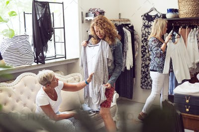 Women trying clothes