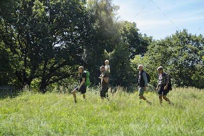 Family walking in meadow