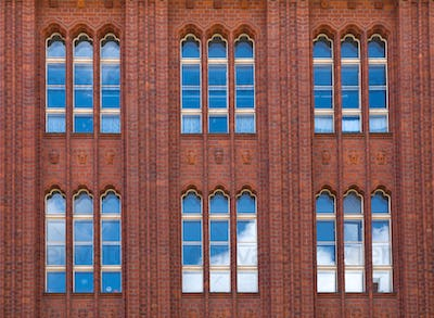 Brickwall facade with reflections