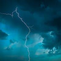 Lightning On Background Of Night Stormy Sky Before Rain. Cloudy Sky. Lightning Strike, Thunderbolt