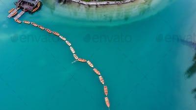 Beautiful Braies lake, aerial view