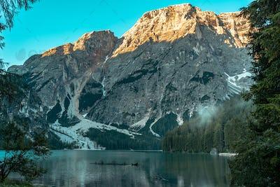 Braies lake landscape, Italy