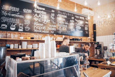 Hipster looking coffee shop ready to open