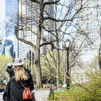 Rear view of woman walking on pathway amidst bare trees at Central Park