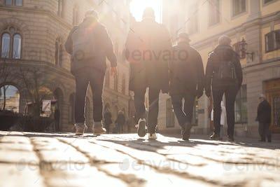 Sweden, Stockholm, Gamla Stan, Rear view of people walking in old town