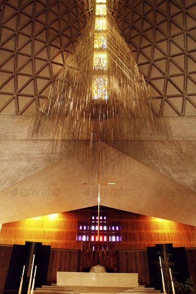 Low angle view of ceiling at illuminated church