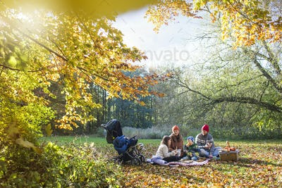 Family enjoying food during picnic in forest