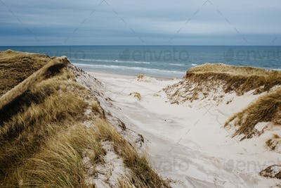 Sand dunes by sea