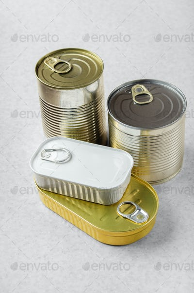 various canned foods in tin cans