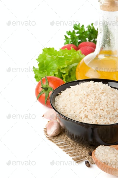 set of nutrition and healthy food isolated on white