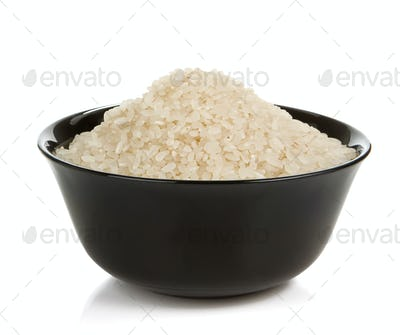 rice in plate isolated on white