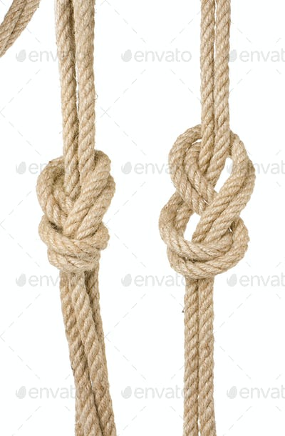 ship ropes with a knot isolated on white