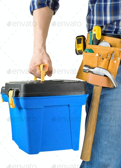 man and toolbox with set of tools isolated on white