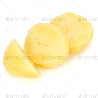boiled peeled sliced potato isolated on white background cutout
