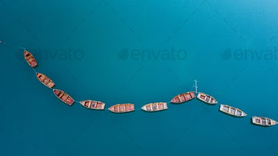 Simple lake landscape aerial view boats