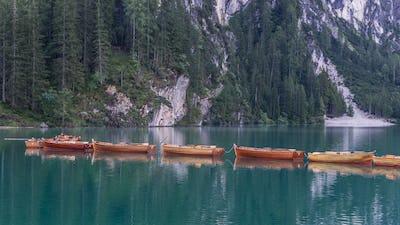 Boats on alpine lake