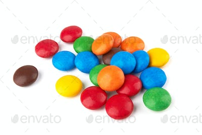 colorful chocolate buttons isolated