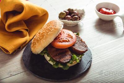 vegan burger on table, health food