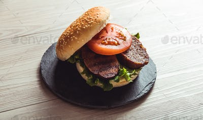 Real food, vegan meat in a restaurant