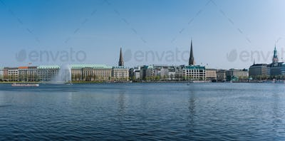 Beautiful panoramic view Alster lake with fountain