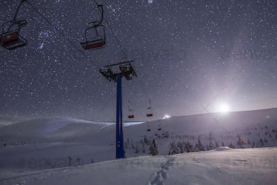 An empty ski resort with funiculars