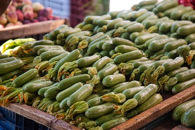 Organic zucchini on farmers market in Greece
