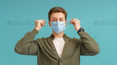 Young man wearing facemask