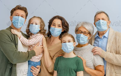 Family is wearing facemasks