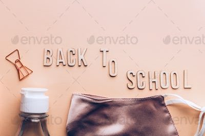 Back to school with face masks and sanitizer