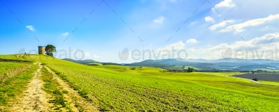 Tuscany, Maremma landscape. Old windmill and trees on top of the hill.