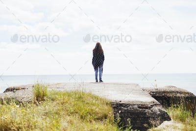 Rear view of woman standing on rock at beach against sea
