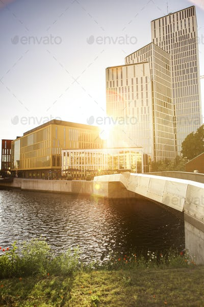 Exterior of modern buildings by canal