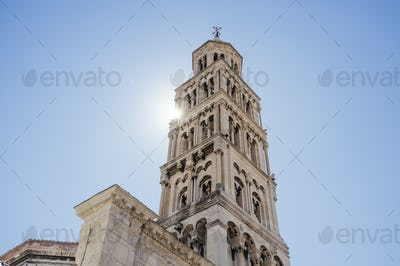 Low angle view of bell tower of Cathedral of St. Domnius at Split, Dalmatia, Croatia