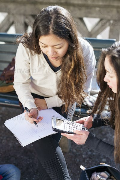 Teenage girls using calculator in college campus