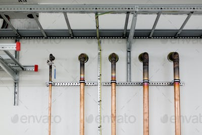 Golden pipes in factory