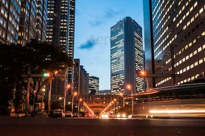 Street near Tokyo Metropolitan Government building in Shinjuku, Japan